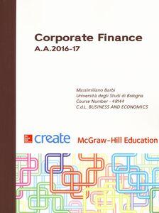 Foto Cover di Corporate finance A. A. 2016-17, Libro di Massimiliano Barbi, edito da McGraw-Hill Education