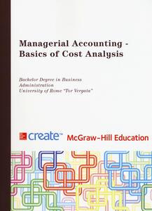 Managerial accounting. Basics of cost analysis - copertina