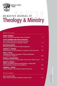 McMaster Journal of Theology and Ministry: Volume 15, 20132014 - cover