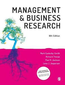 Management and Business Research - Mark Easterby-Smith,Richard Thorpe,Paul R Jackson - cover