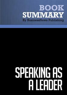 Summary: Speaking as a Leader
