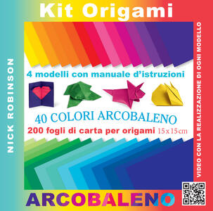 Kit origami. 40 colori arcobaleno. Con gadget