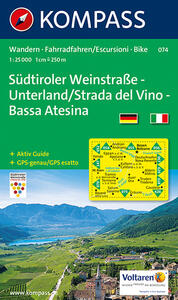 Carta escursionistica n. 074. Strada del vino-Bassa Atesina 1:25.000. Adatto a GPS. DVD-ROM. Digital map - copertina