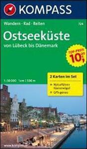 Carta escursionistica e stradale n. 724. Ostseeküste Lübeck bis Dänemark set. Adatto a GPS. DVD-ROM. Digital map - copertina