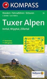 Carta escursionistica e stradale n. 34. Tuxer Alpen, Inntal, Wipptal. Adatto a GPS. DVD-ROM. Digital map - copertina