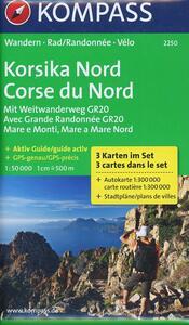 Carta escursionistica n. 2250. Corse du Nord 1:50.000. Ediz. tedesca e francese