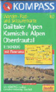 Carta escursionistica n. 60. Austria. Carinzia. Gailtaler Alpen, Karnische Alpen, Oberdrautal 1:50.000. Con carta panoramica. Adatto a GPS. DVD-ROM digital map