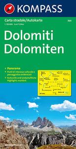 Carta panoramica n. 364. Dolomiti-Dolomiten 1:50.000. Con carta stradale