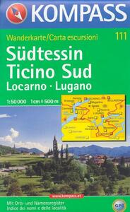 Carta escursionistica n. 111. Svizzera, Alpi occidentale. Locarno, Lugano, Ticino sud 1:50.000. Adatto a GPS. DVD-ROM. Digital map - copertina