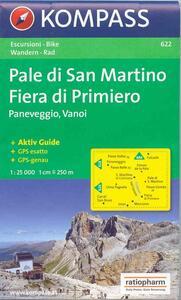 Carta escursionistica n. 622. Trentino, Veneto. Pale di S. Martino, Fiera di Primiero 1:25.000. Adatto a GPS. Digital map. DVD-ROM - copertina