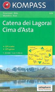Carta escursionistica n. 626. Trentino, Veneto. Catena dei Lagorai, Cima d'Asta 1:25.000. Adatto a GPS. Digital map. DVD-ROM