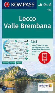 Writersfactory.it Carta escursionistica n. 105. Lecco, Valle Brembana 1:50.000. Ediz. italiana, tedesca e inglese Image
