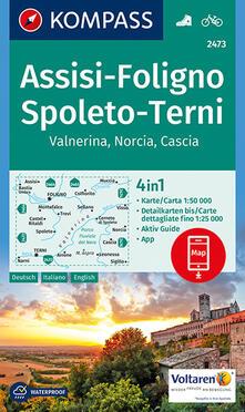 Ascotcamogli.it Carta escursionistica n. 2473. Assisi, Foligno, Spoleto, Terni, Valnerina 1:50.000. Ediz. italiana, tedesca e inglese Image