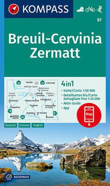 Luciocorsi.it Carta escursionistica n. 87. Breuil-Cervinia, Zermatt 1:50.000. Ediz. multilingue Image
