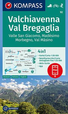 Festivalpatudocanario.es Carta escursionistica n. 92. Valchiavenna, Val Bregaglia 1:50.000 Ediz. italiana, tedesca e inglese Image