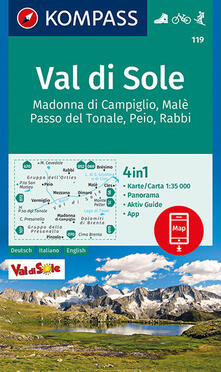 Tegliowinterrun.it Carta escursionistica n. 119. Val di Sole 1:35.000 Ediz. italiana, tedesca e inglese Image