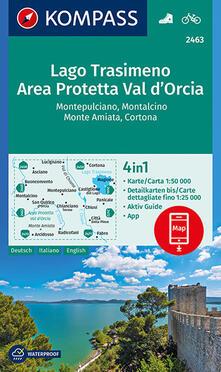 Squillogame.it Carta escursionistica n. 2463. Lago Trasimeno, Area Protetta Val d'Orcia 1:50.000. Ediz. italiana, tedesca e inglese Image