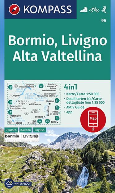 Cartina Geografica Livigno E Dintorni.Carta Escursionistica N 96 Bormio Livigno Valtellina 1 50 000 Ediz Italiana Tedesca E Inglese Libro Kompass Ibs
