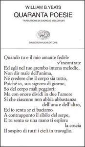 Quaranta poesie - William Butler Yeats - copertina