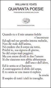 Libro Quaranta poesie William B. Yeats