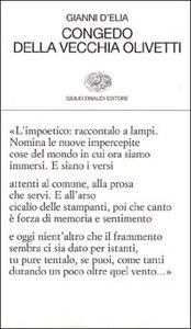 Foto Cover di Congedo della vecchia Olivetti, Libro di Gianni D'Elia, edito da Einaudi