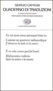 Libro Quaderno di traduzioni Giorgio Caproni