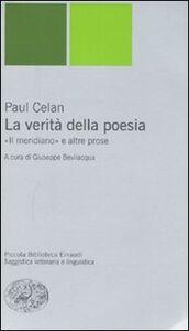 Libro La verità della poesia. «Il meridiano» e altre prose Paul Celan