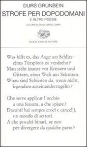 Libro Strofe per dopodomani e altre poesie Durs Grünbein