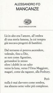 Mancanze - Alessandro Fo - copertina