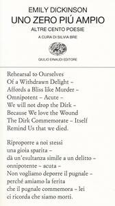 Uno zero più ampio. Altre cento poesie. Testo inglese a fronte - Emily Dickinson - copertina