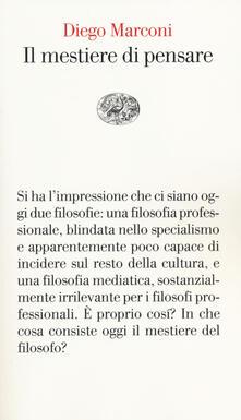 Il mestiere di pensare - Diego Marconi - copertina