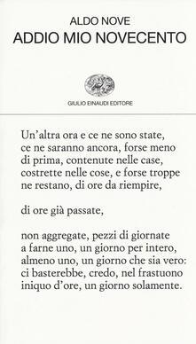 Addio mio Novecento - Aldo Nove - copertina