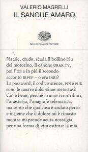 Il sangue amaro - Valerio Magrelli - copertina