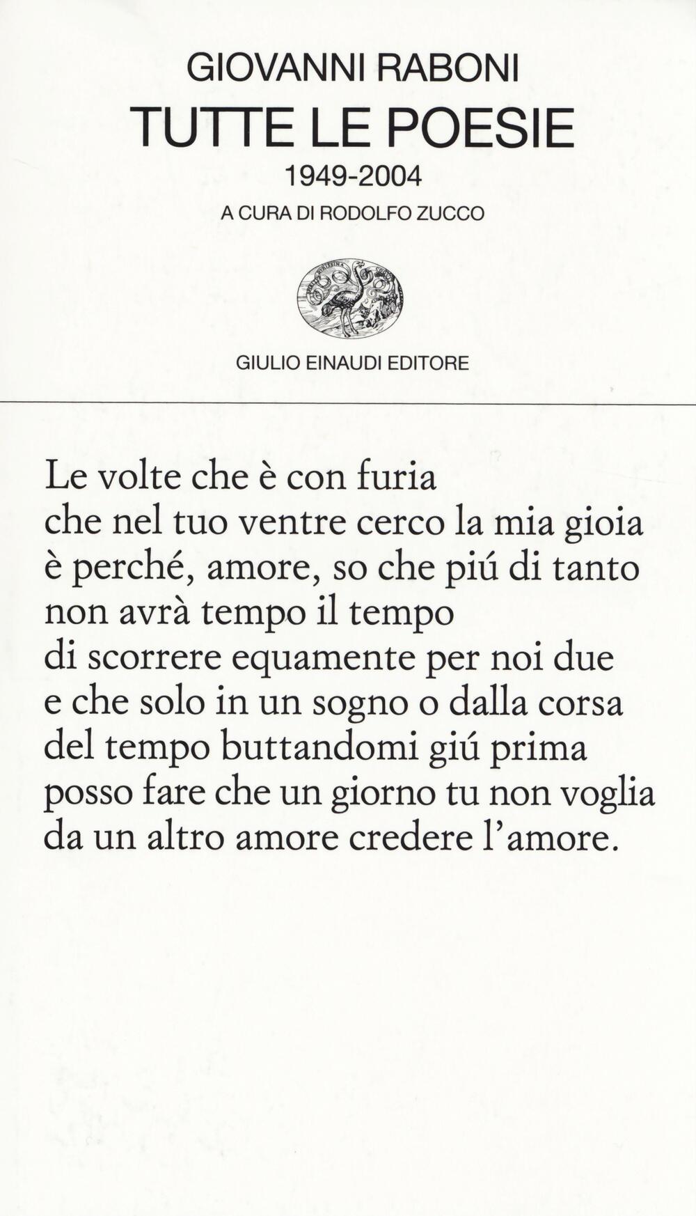 Popolare Tutte le poesie (1949-2004) - Giovanni Raboni - Libro - Einaudi  XW79