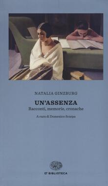 Radiospeed.it Un' assenza. Racconti, memorie, cronache 1933-1988 Image