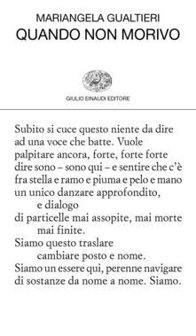 Quando non morivo - Mariangela Gualtieri - copertina