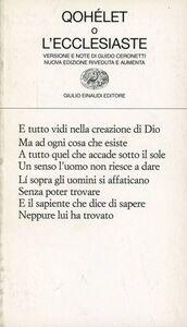 Foto Cover di Qohélet o l'Ecclesiaste, Libro di  edito da Einaudi
