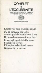 Libro Qohélet o l'Ecclesiaste