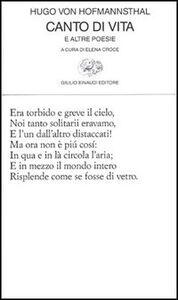 Libro Canto di vita e altre poesie Hugo von Hofmannsthal