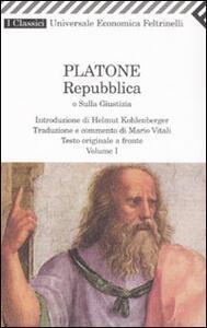 Repubblica o sulla giustizia vol. 1-2. Testo greco a fronte - Platone - copertina