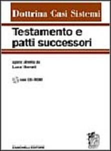 Testamento e patti successori. Con CD-ROM - copertina