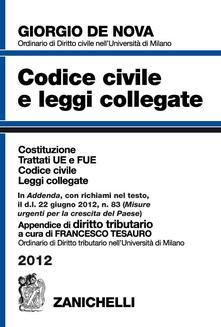 Camfeed.it Codice civile e leggi collegate 2012. Con appendice di diritto tributario Image