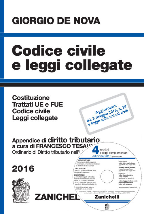 Codice civile e leggi collegate 2016. Con appendice di diritto tributario. Con CD-ROM