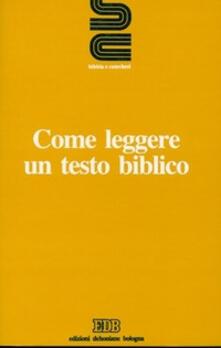 Come leggere un testo biblico