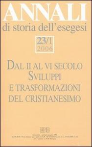 Annali di storia dell'esegesi (2006). Vol. 23\1