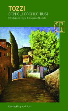 Con gli occhi chiusi - Federigo Tozzi - copertina
