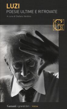 Poesie ultime e ritrovate - Mario Luzi - copertina