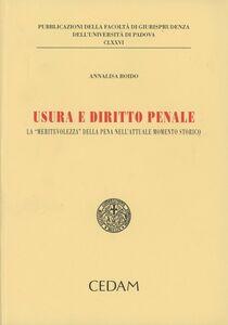 Usura e diritto penale. La «meritevolezza» della pena nell'attuale momento storico