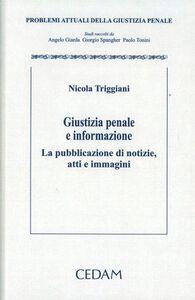 Foto Cover di Giustizia penale e informazione. La pubblicazione di notizie, atti e immagini, Libro di Nicola Triggiani, edito da CEDAM