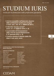 Studium iuris. Rivista per la formazione nelle professioni giuridiche (2012). Vol. 9 - copertina